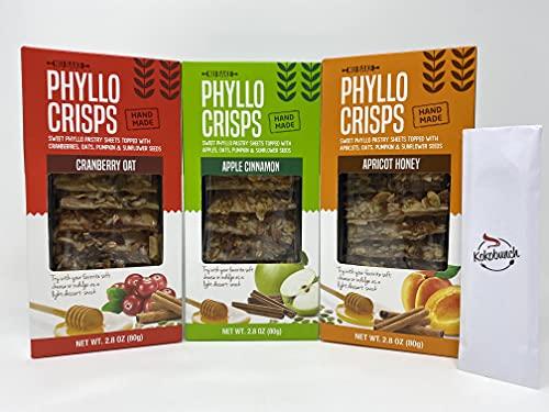 Phyllo Crisps Pastry Dough Sheets Crisp Snack Variety Bundle - Cranberry Oat Crisps Apricot Honey Apple Cinnamon with kokobunch kit by Nu Bake | 3 Pk - 2.8 oz