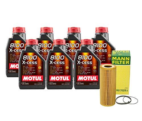 Newparts 7L Motul 8100 X-Cess 5W40 Mann Filter Motor Oil Change Kit SQ5 3.0L Supercharged for Audi SQ5 3.0L V6 Supercharged FI CTUD 2014-2017 CTUD, CGQB; VW 502.00/505.00