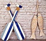Holzruder, Wanddekoration und antikes Holzfisch-Dekor, Wandbehang, Innendekoration, Strandhaus-Paddel, nautische Dekoration, Holzfisch-Dekorationen für...