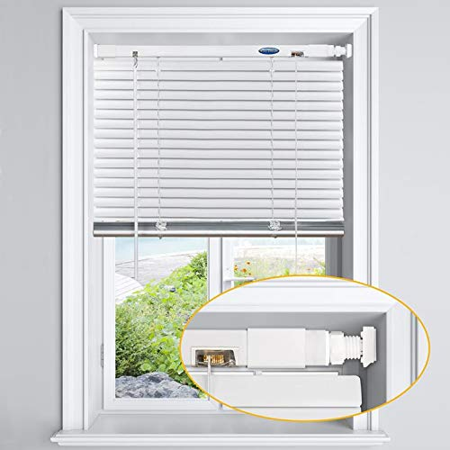 LazBlinds No Tools-No Drill 1' Aluminum Horizontal Mini Blinds Shades for Window Size 33'' W x 64'' H, Light Filtering Inside Installation, White