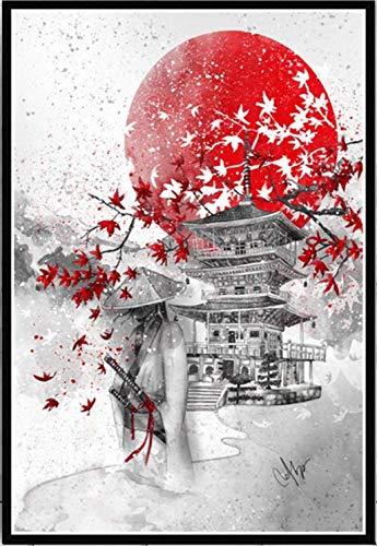Preisvergleich Produktbild XuJinzisa Einfache Japanische Zen Tinte Bushido Poster Ölgemälde Retro Landschaft DIY Zuhause Wohnzimmer Bar Café Dekoration Wandbild Rahmenlos 40X60Cm T778