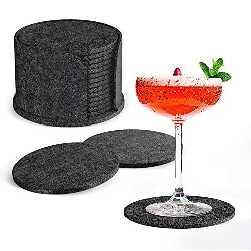 HOTERB Posavasos Originales,Juego de 14 Posavasos de Fieltro con Caja,Posavasos Absorbentes Coasters Posavasos para Bebidas,Café,Vasos,Tazas,Copas