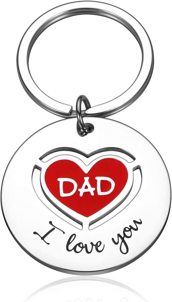 Fathers Day Gifts Keychain for Dad Daddy Step Father to Be Husband Key Chain for Birthday Wedding Anniversary from Daughter Son Kids Wife for Men I Love You Father of The Bride Groom Keyring
