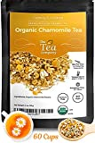 Organic Chamomile Tea with Whole Dried Flowers Makes 60 Cups Herbal Tea in Bulk Calming Loose Leaf Teas for Bedtime Relaxation by The Tea Company 4oz