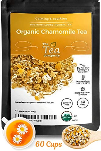 Organic Chamomile Tea with Whole Dried Flowers Makes 240 Cups - Herbal Tea Calming Loose Leaf Teas for Relaxation Before Bedtime by The Tea Company 4 X 4oz