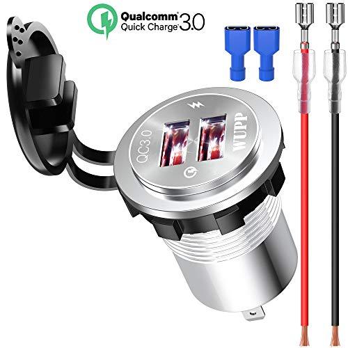 Kriogor 12V QC 3.0 Dual USB Steckdose Auto Adapter IP66 Wasserdicht KFZ Ladegerät für Motorrad Boot SUV (Weiß)