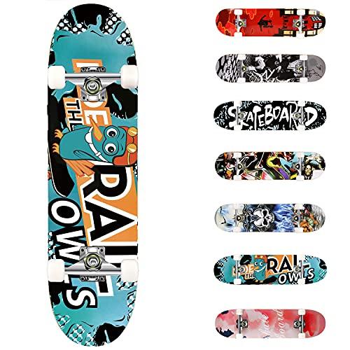 WeSkate Completo Skateboard per Principianti, 80 x 20 cm 7 Strati di Acero Double Kick Deck Concavo Skate Board per Bambini Adolescenti Giovani Adulti Ragazze Ragazzi