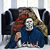 LANMEI Michael-Myers Birthday Horror Halloween Soft Plush Throw Blanket Super Fuzzy Warm Lightweight Thermal Fleece Blankets for Couch Bed Sofa All Season-Black-60 x50