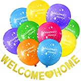Set de Globos y Banner de Welcome Home Incluye 24 Globos Tropicales de Welcome Home y Banderines de Welcome Home con Purpurina Dorada para Decoración de Casa Fiesta