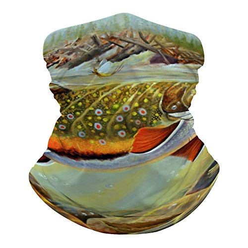 ACHT Brook Trout Fly Fishing Neck Gaiter Face Cover Scarf Breathable Summer Cooling Seamless Bandana Wrap Face Mask - Women & Men for Dust,Outdoor,Festivals,Sports, Style1, One Size