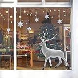 heekpek Noël Autocollants Fenetre Noël Renne Stickers Muraux Amovibles Mur De FenêTres en Vinyl De La Maison Autocollants DéCoration