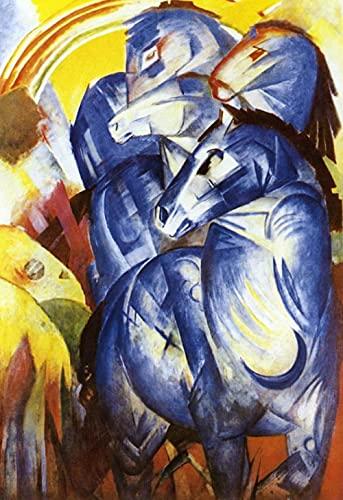 Una torre de caballos azules Franz Marc - DIY 5D Kits de pintura de diamante Bordado de punto de cruz Artesanía redonda completa Regalo de arte 30x40cm