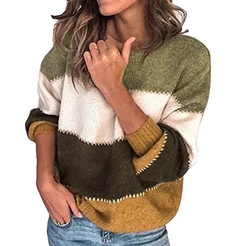 N\P Patchwork O-Cuello Otoño Invierno Suéter de las Mujeres de Manga Larga Caliente Suéter de Punto Suéter...
