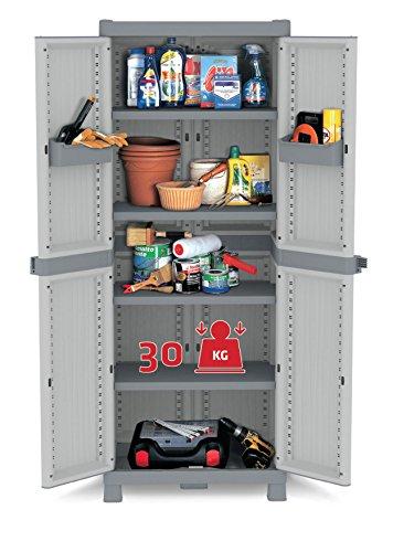 XL Kunststoffschrank Domino Wave - Universalschrank mit Riegel-Mechanismus und vielen Extras! XL Volumen und topp Qualität für Haushalt und Gewerbe! Maße: 70 x 43,8 x 181,8 cm