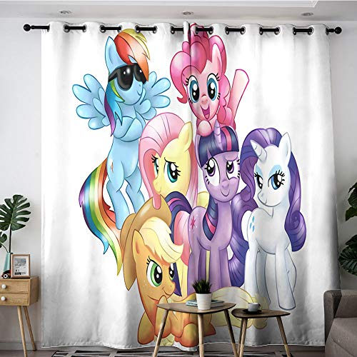 Sdustin Cortinas para sala de estar, diseño de dibujos animados, diseño de My Little Horse de 106 x 137 cm, con aislamiento térmico para reducir el ruido (tela de poliéster)