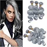 Tony Beauty Hair Top Quality Brazilian Silver Grey Human Hair Weaves Extensions Body Wave 3 Bundles Lot Colored Grey Virgin Remy Human Hair Double Wefts 10-30' Tangle Free (12 14 16)