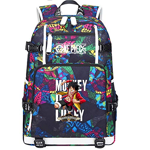 ZZGOO-LL One Piece Monkey·D·Luffy/Roronoa Zoro Mochila con para Mujer, Mochila de Viaje Suave, Mochila para Escuela, Notebook, Mochilas para niñas con USB-D