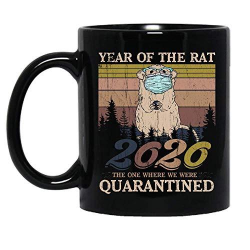 Vintage Year Of The Rat 2020 The One Where We Were Quarantined Ceramic Mug Graphic Coffee Mugs Black Cups Tea Tops Custom Novelty 11 Oz 15 Oz