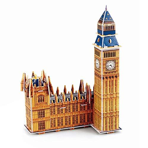 Rompecabezas estéreo 3D Mini-Mundo Modelo arquitectónico Rompecabezas Rompecabezas de Papel para niños Notre Dame en París (Big Ben Multicolor)