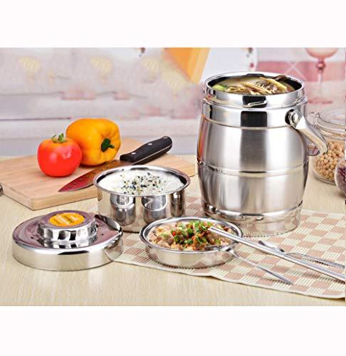 FPXNBONE Food Jar,Anti-Überlauf-Pfanne aus Edelstahl, doppelt isolierter Vakuum-Reiskübel-Typ 1.6_Drum,Essensbox Isolierbehälter