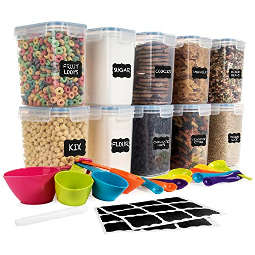 SPACE SAVER Food Storage Airtight Pantry Containers [Set of 10] 1.6L /54oz + 14 Measuring Cup & Spoons + labels & Marker - for Sugar, Flour, Baking Supplies - BPA Free - Leakproof - Dishwasher Safe