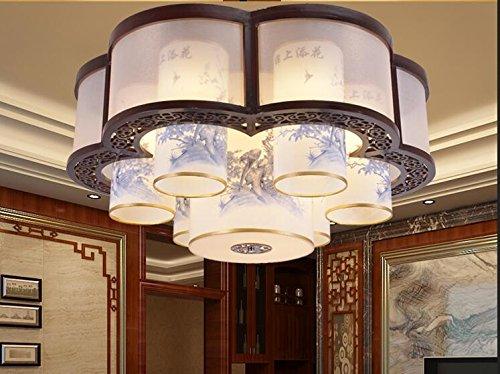 Estilo chino de madera colgante luz sala de estar de madera maciza circular archaize zafiro iluminación lámparas colgantes ZA1130135 ( Color : Ceiling style , Size : D60cm )