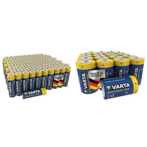 Varta Industrial Pro AA Mignon Alkaline Batterien LR6-100er Pack, umweltschonende Verpackung, Design kann abweichen & Industrial Pro Batterie D Mono Alkaline Batterien LR20 (20er Pack)