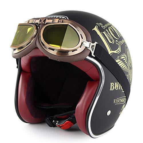 SOMAN Vintage Open-Face Motorcycle Helm Motorbike Jet Bobber Chopper Crash 3/4 Helm DOT-Zertifizierung mit Harley-Brille Sun Visier,Lucky13,L(58~59cm)