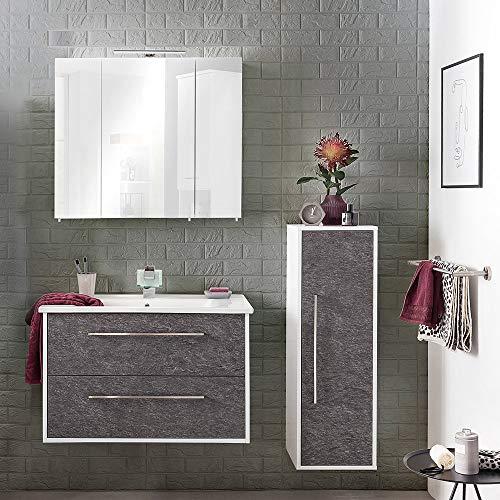 Lomadox Badmöbel Set in weiß mit Schiefer, Waschtisch mit Keramik-Waschbecken, LED-Spiegelschrank
