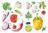dekodino® Wandtattoo Küche Set Aquarell Gemüse Paprika Oliven Pilze Wandsticker