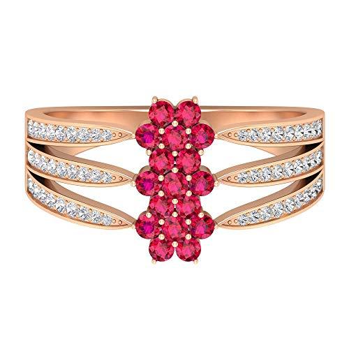 Anillo de boda grueso, anillo de flor vintage, anillo floral de rubí de 0,37 quilates, anillo de compromiso de diamantes HI-SI 0,32 quilates, anillo de novia antiguo, 10K Oro rosa, Size:EU 70