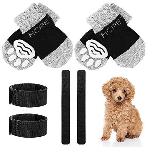 2 Paar Anti Rutsch Hundesocken Weiche Welpen Socken Anti Rutsch Schützende Haustier Pfoten Socken mit Verstellbaren Trägern Pfoten Muster für Haustiere im Indoor (Schwarz Grau, Groß)