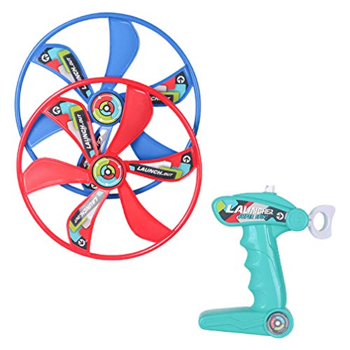 Toddmomy 1 Juego de Lanzador de Super Platillo Volador Juego de Disparador Giratorio Juguetes de Disco Volador Juguetes Voladores de Plástico para Niños en Interiores Al Aire Libre 20 Cm