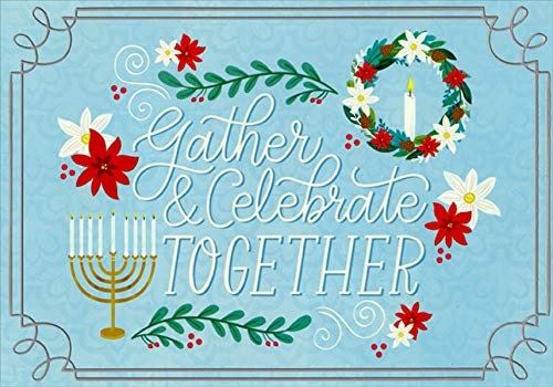 Designer Greetings Gather and Celebrate Together Box of 18 Interfaith Hanukkah/Christmas Holiday Cards