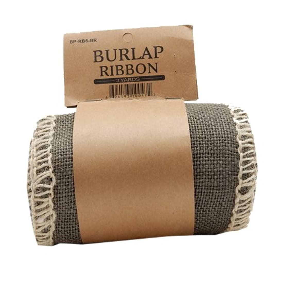Green Pastures Wholesale Ribbon, 6-Inch by 3-Yard, Brown Burlap