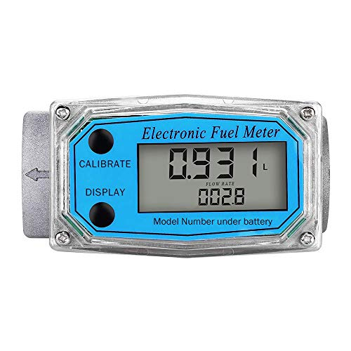 Digital Turbine Flow Meter,1″ Digital LCD Display with NPT Counter Gas Oil Fuel Flowmeter,Pump Flow Meter,Diesel Fuel Flow Meter for Measure Diesel, Kerosene, Gasoline