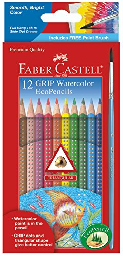 Faber-Castell Grip Watercolor EcoPencils - 12 Water Color Pencils with Brush