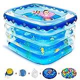 JI TA Home Baby Pool, Aufblasbarer Kinderpool, Aufblasbarer Pool Home Garten Aufblasbarer Pool Sommer Kinder Planschbecken/blue / 140x105x75cm