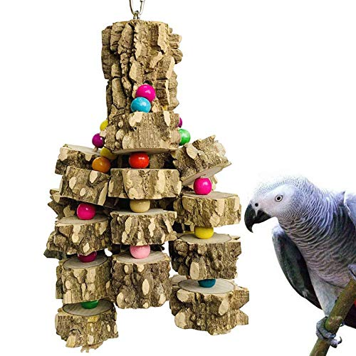 PINVNBY Large Parrot Toys Natural Wood Bird Chewing Toys Parakeet cage Hammock Hanging Toy for African Grey Macaws Cockatoos Eclectus Amazon Parrot Birds