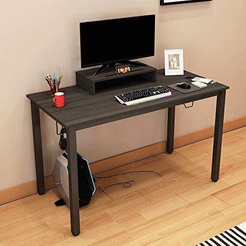 sogesfurniture Computertisch Schreibtisch großer Gaming Tisch mit Getränkehalter und Kopfhöreraufhänger, Stabil Bürotisch Arbeitstisch aus Holz und Stahl, 120x60cm, Schwarz, BHEU-AC14CB