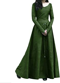 Centory Renaissance Irish Medieval Dress for Women Plus Size Long Dresses Lace Up Costumes Retro Gown