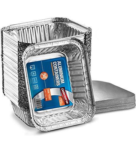 Lot de 50 petits barquettes en aluminium avec couvercles en papier 500 ml Idéal pour la préparation des repas, la cuisson des aliments à emporter