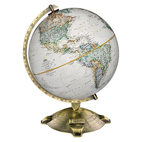 Replogle Allanson, Antique Ocean, National Geographic Cartography, Up-to-Date and Detailed, Desktop Globe, Raised Relief, Antique Plated Die-Cast base (12