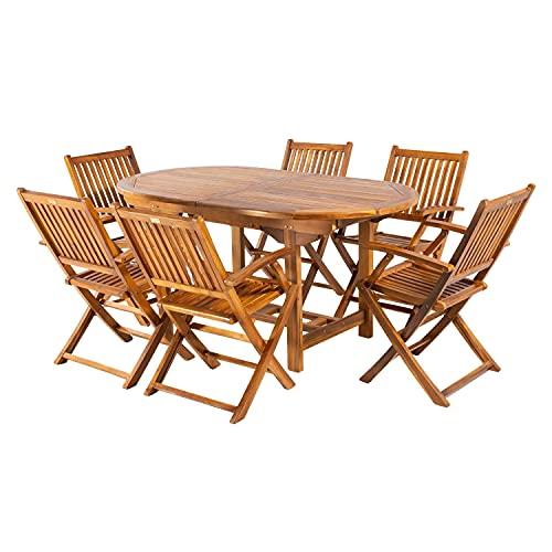 Conjunto para jardín de Madera Teca, Mesa Ovalada Extensible 160/210 cm y 6 sillones Plegables,...