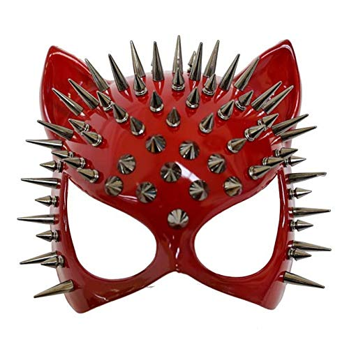 MasqStudio Red Black Cat Woman Dress up Cosplay Party Masquerade Mask Spiky Halloween (Red)