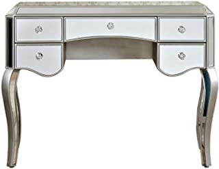 LONGren Vanity Table,Wood Makeup Vanity Table Set W/Cushioned Stool5 Drawers Bedroom Dressing Table Women Girls/Milk White...