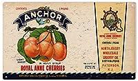 ブリキ メタル プレート サイン 2枚 Vintage Anchor Cherries Vintage Reproduction Metal Sign Cafe Home Farm Supermarket Bar Pub Garage Hotel Diner Mall Garden Door Wall Decor Art 8X12Inch