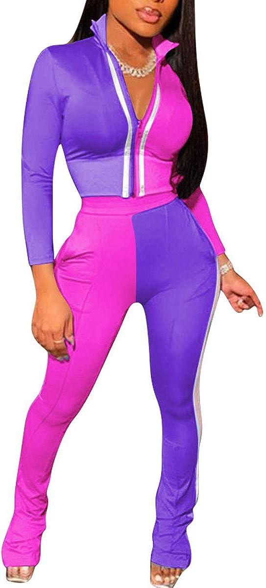 Uni Clau Women's Two Piece Tracksuit Set - Long Sleeve Color Block Zipper Tops Bodycon Pant Set Outfits Jogger Suit