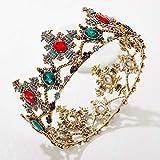 SWEETV Corona barroca con piedras preciosas para boda y tiaras para mujeres, accesorios para el pelo de fiesta de disfraces con piedras preciosas
