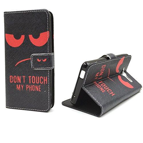 König Design Handyhülle Kompatibel mit ZTE Blade L3 Handytasche Schutzhülle Tasche Flip Hülle mit Kreditkartenfächern - Don't Touch My Phone Rot Schwarz